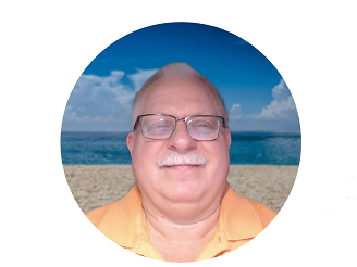 Pastor Doug on beach, inside circle mask
